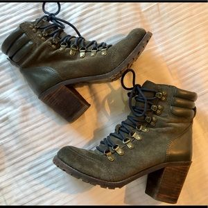 Lucky Brand olive utilitarian heeled lace-up boots